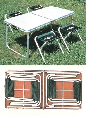 折りたたみ収納 アルミテーブル&チェア画像