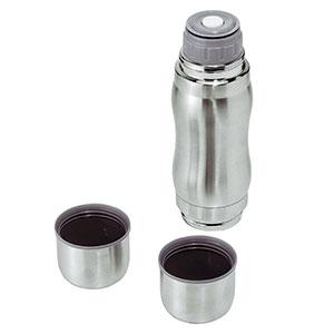 カップが2個付いている真空ステンレスボトル画像
