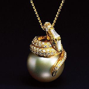 12mm大粒金色南洋真珠ペンダント画像
