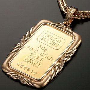 スイス純金インゴット&18金喜平ネックレス画像