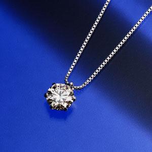 大粒1.0カラットダイヤモンドネックレス画像