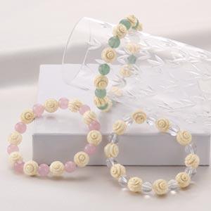 バラが咲く本象牙&天然石ブレスレット画像