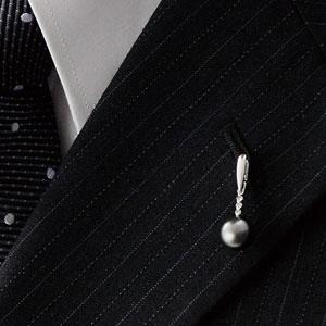 黒真珠&ダイヤピンタック画像
