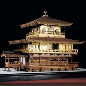銘木製建築模型1/70「鹿苑寺金閣」画像