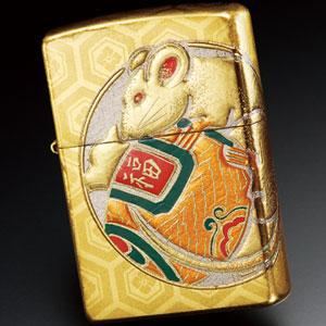 平成二十年限定本金箔張高蒔絵鼠Zippo画像