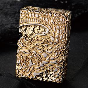 五面荒彫りドラゴンオイルライター画像