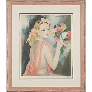 M・ロ−ランサン「花束を持つ乙女」画像
