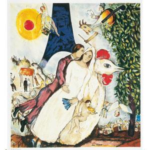 シャガール「エッフェル塔と新婚夫婦」画像