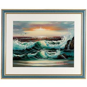 橋田峯春肉筆画「風水黎明の海」画像