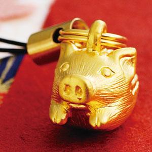 大淵銀器 純金うり坊ストラップ画像
