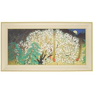 横山大観シルクスクリーン版画「夜桜」左隻画像