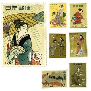 昭和の浮世絵 切手シート 7種セット画像