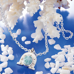 奇跡の宝石ム−大陸の秘宝 ラリマ−馬蹄アクセ画像