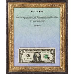 ラッキー777!米国1ドル紙幣(額縁付)