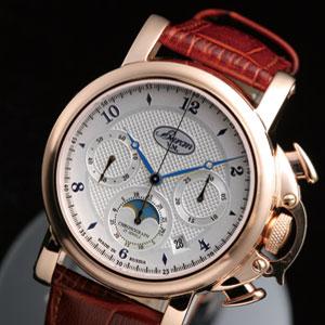 欧州王侯スタイル・機械式月齢表示クロノ時計画像