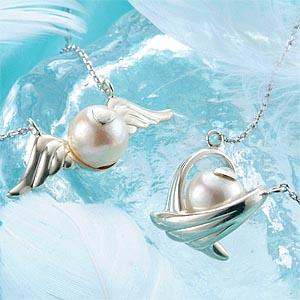 本真珠エンジェルネックレス シルバー画像